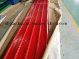 上塗を施してある波形の金属によって電流を通される亜鉛屋根シートを着色しなさい