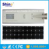 5W-100W todo em uma luz de rua solar Integrated do diodo emissor de luz com o ISO IP68 de RoHS do Ce do sensor de movimento de PIR aprovado