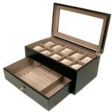 Caja de presentación de cuero de madera de lujo del embalaje del reloj (Lrw246)