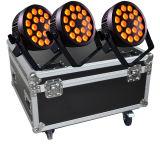A PARIDADE UV do diodo emissor de luz 6in1 de 18X12W RGBWA pode com Powercon, caixa da estrada para a iluminação do estágio, evento, disco