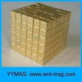 N35 5mm de Gouden Met een laag bedekte NeoMagneet van het Blok van Kubus 216