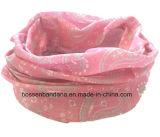 O produto do OEM personalizou o lustre relativo à promoção cor-de-rosa de Paisley Headwear da menina impressa logotipo dos esportes de Microfiber