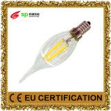 luz AC85-265V de la iluminación del filamento de la vela de 2W 4W LED