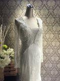 Elegante branco da alta qualidade uma linha vestido de casamento nupcial muçulmano Appliqued do trem da capela do comprimento do assoalho da colher luva longa (MN1597)