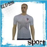 T-shirts en bonne santé de polyester de dri fait sur commande bon marché en gros de blanc (T001)