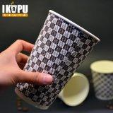 Изготовленный на заказ напечатанный логосом черный горячий бумажный стаканчик кофеего пульсации