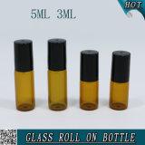 Rouleau de verre ambré rond de 3 ml sur bouteille en acier avec bouchon en plastique 5 ml