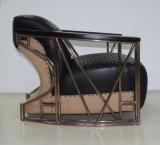 고대 로즈 금 스테인리스 팔걸이 진짜 가죽 거실 의자 Yh-316