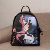 Милый Backpack PU черноты застежки -молнии картины Bambi (A044)
