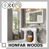 Klassischer weißer dekorativer hölzerner Spiegel-Rahmen für Badezimmer