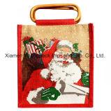 Sacs en bois estampés faits sur commande en gros de cadeau de Noël de Hession de jute de traitement de canne