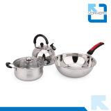 3 parties d'acier inoxydable de vaisselle de cuisine de bac de jeu réglé de batterie de cuisine