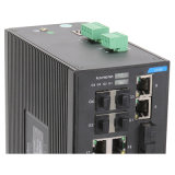 4 Gigabit Combo Industrial Ethernet Network Switch with 4 Fiber