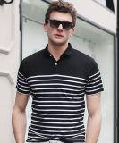 O Short preto e branco Sleeves Tshirts listrados Mens do polo