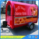 Carro comercial del perrito caliente del carro del alimento de la vespa del acoplado de la fibra de vidrio