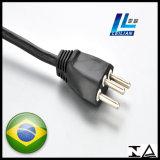 fiche de cuivre de cordon d'alimentation de 3-Pin Brésil avec l'OEM certifié par TUV