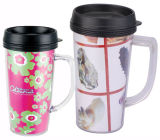 Customized Clear Outer Inserted Paper Advertising Mug com alça