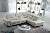Sofá moderno Sbo-5933 do couro da parte superior da mobília do aço inoxidável