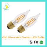 Ampola da corda do diodo emissor de luz da vela da lâmpada do candelabro de Stoele C30 6W
