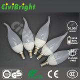 Bulbo novo elevado branco puro da vela do diodo emissor de luz do projeto 5W do CRI