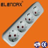 6 de Contactdoos van de Uitbreiding van de Stroken van de Contactdoos van Ce van het gat met Stop (E8006ES)