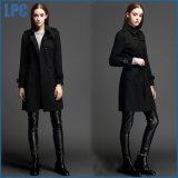 Revestimento de lã comprida preto clássico Slim Fashion Women