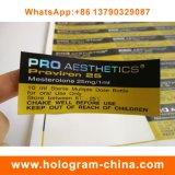 カスタム印刷のホログラムの同化ステロイドホルモンのための自己接着10mlガラスびんのラベル
