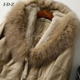 キツネの毛皮の女性が付いている本物の羊皮の革そして毛皮の衣服の2016新しいデザイン