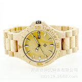 Relógio de madeira do bordo do aço inoxidável