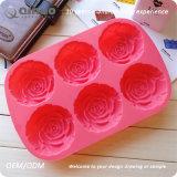 Rote Rosen-geformte Silikon-Nahrungsmittelgummikuchen-Backen-Blätter