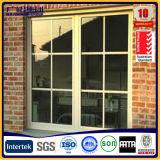Fenêtre coulissante à double vitre imperméable à l'eau avec cadre en aluminium jaune