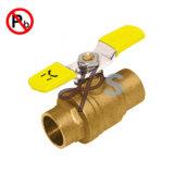 Vávula de bola de cobre amarillo con poco plomo de la soldadura con la maneta palanca