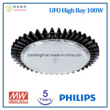 Philips LED 칩과 Meanwell 전력 공급을%s 가진 높은 만 LED 빛 5 년 보장 100W UFO