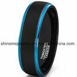 최신 판매 두 배 색깔 텅스텐 반지 남자의 파란 결혼 반지
