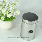 Kundenspezifisches rundes kleines silbernes Tee-Zinn, Tee-Metallkasten, schwarzer Tee-verpackenzinn-Kasten