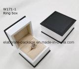 Rectángulo determinado de la laminación del negro de la manera del embalaje de madera mate de la joyería