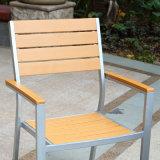 Cadeira de madeira plástica do braço da tabela da mobília ao ar livre do jardim do pátio (J817)