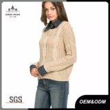 デニムカラー方法レディースケーブルのニットのセーター