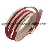 Brazalete grande de cuero rojo de la pulsera del pun¢o de la PU