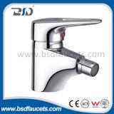 Rubinetti tenuti in mano dell'acquazzone della stanza da bagno della vasca da bagno del colpetto del rubinetto fissato al muro del miscelatore