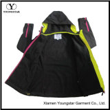 Ys-1072 Ladies Black Fleece Impermeável Respirável Softshell Jacket com Hood Women's