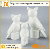 Cerámica blanca Craft Holder búho Figurita vela para la decoración casera