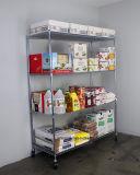 4 rangées réglables 800 livres de restaurant de nourriture de mémoire de matériel de chrome de fil d'aménagement de crémaillère de chariot lourd à étagère, homologation de NSF