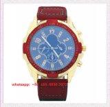 Relógio elegante dos homens de quartzo do OEM com cinta de couro Fs514