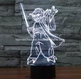 新しいスターウォーズのYodaマスターの多彩なLED 3D夜ライト
