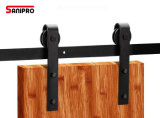 Hardware de desplazamiento interior de madera negro de las puertas de granero del acero de carbón