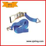 6m x 35mm Azul Poliéster trinquete Correa y gancho para el Transporte