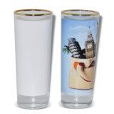 Vidrio de vino largo al por mayor de la sublimación del vidrio de vino del borde 3oz del oro