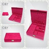 Caja del espejo de la PU de joyería de almacenamiento de cuero de gama alta