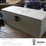 Caja de madera de Hongdao, caja de madera de pino con logotipo grabado a medida